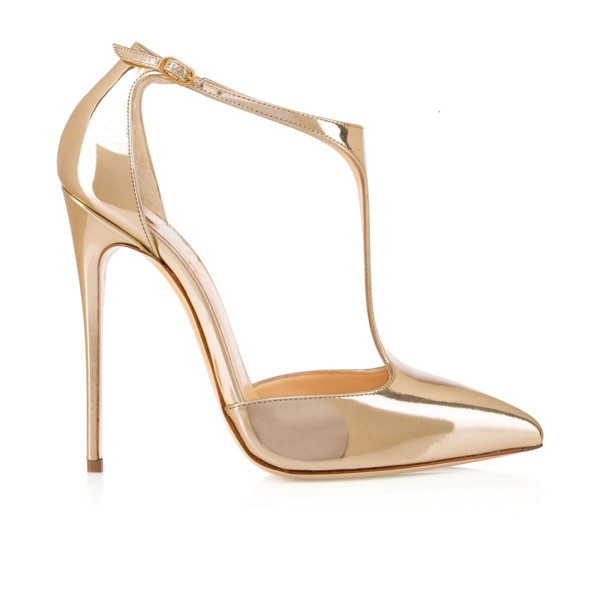 Sandali con tacco a spillo con cinturino alla caviglia a punta tonda con cinturino alla caviglia da 120 mm J di Karmran