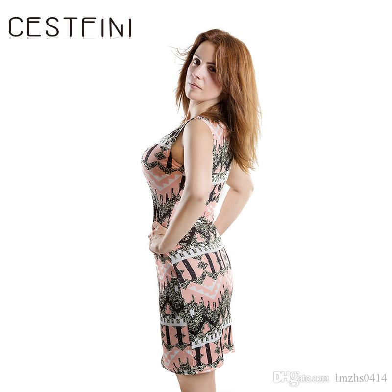 CESTFINI Mode Fleur Sans Manches Tricoté Casual Dress Femmes Cutton Party Dress Dames Court Crayon VestidosD-003