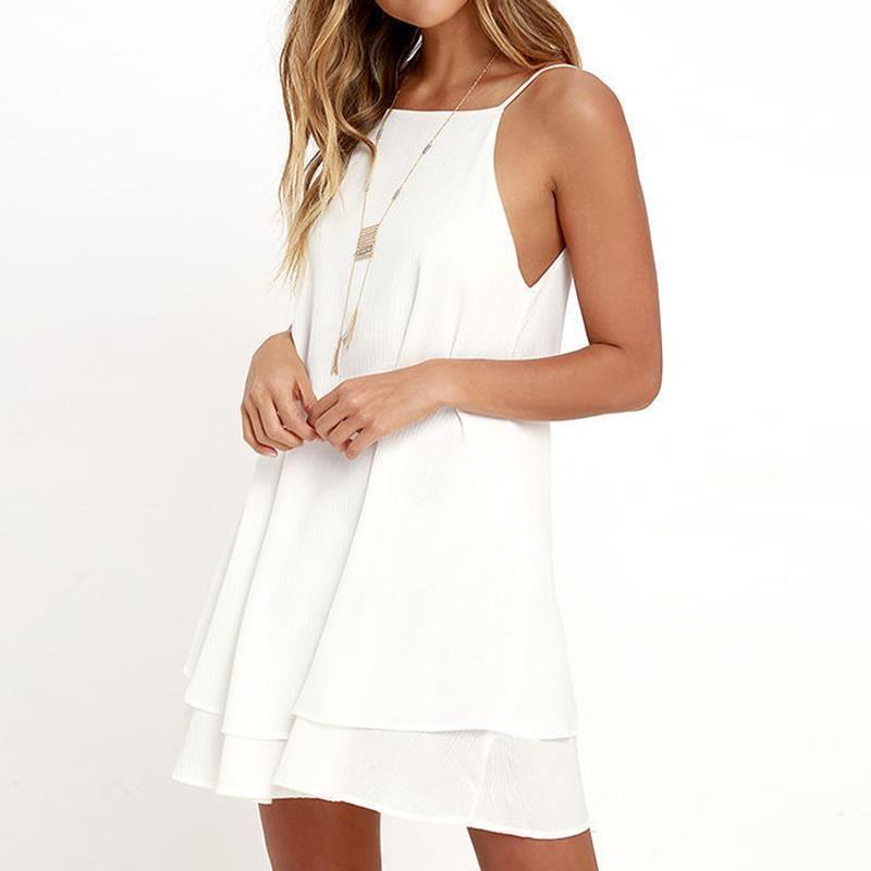 b75e0ae83e8a7 Wholesale- Summer Backless Chiffon Dress Women Sexy Sleeveless Spaghetti  Strap Dresses Solid Beach Party Dress Vestidos White LJ9552C