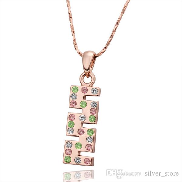 Christmas gift brand new 24k 18k rose gold Water bottle Pendant Necklaces jewelry GN564 fashion gemstone crystal necklace