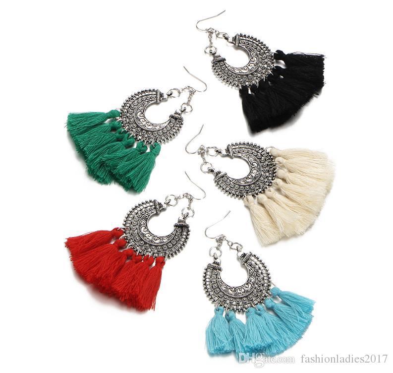 2017 Tassel Earrings For Women Ethic Bohemia Boho Style Short Tassels Earrings Vintage Statement Jewelry
