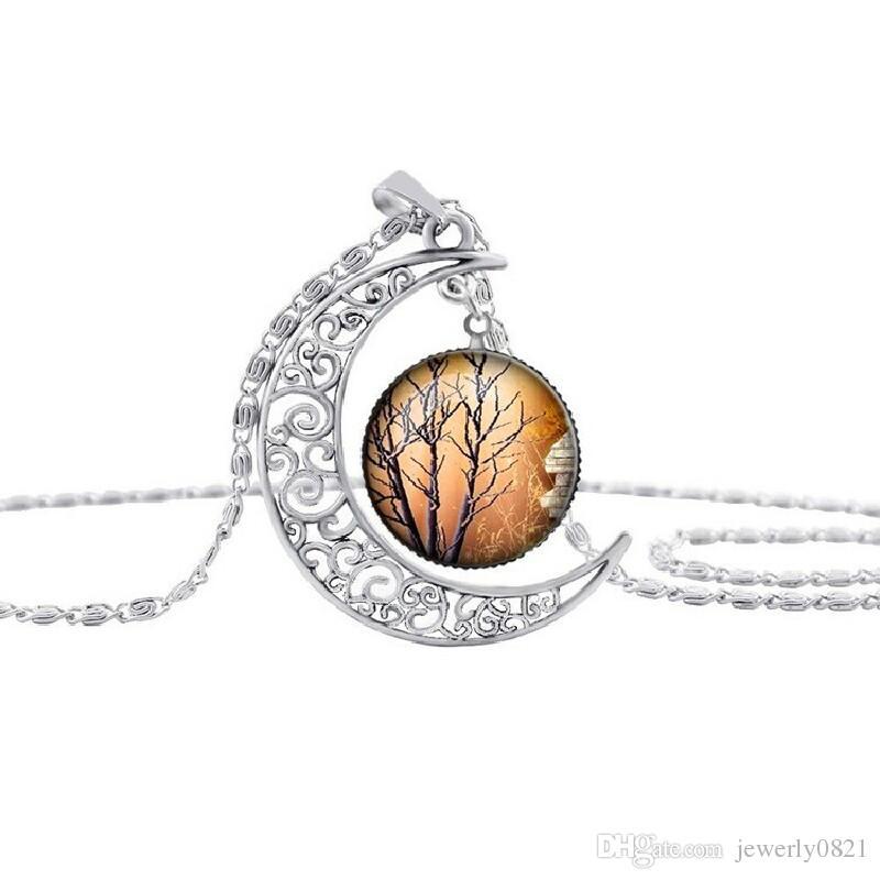 Nueva moda Vintage árbol de la vida collares luna piedras preciosas mujeres colgantes collares hueco tallado 8 mezclar estilos de joyería