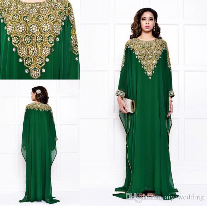 Grüne Dubai Abendkleider Chiffon mit langen Ärmeln Gold und Silber Kristalle Perlen lange Vintage arabische muslimische Frauen Kaftans Abaya Vestidos.