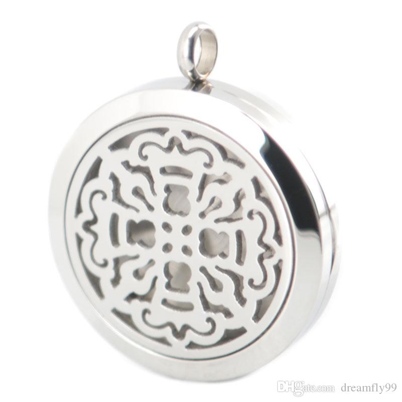 Silver Jewelry Vintage Cross 30mm Aromatherapy Essential Oil surgical Stainless Steel Perfume Diffuser Locket Necklace with chain and pads