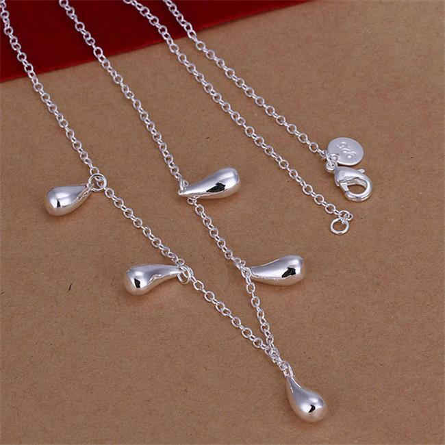 Miglior regalo Five Collana in argento sterling placcato collana a goccia d'acqua STSN131, vendita all'ingrosso 925 catene in argento collana fabbrica