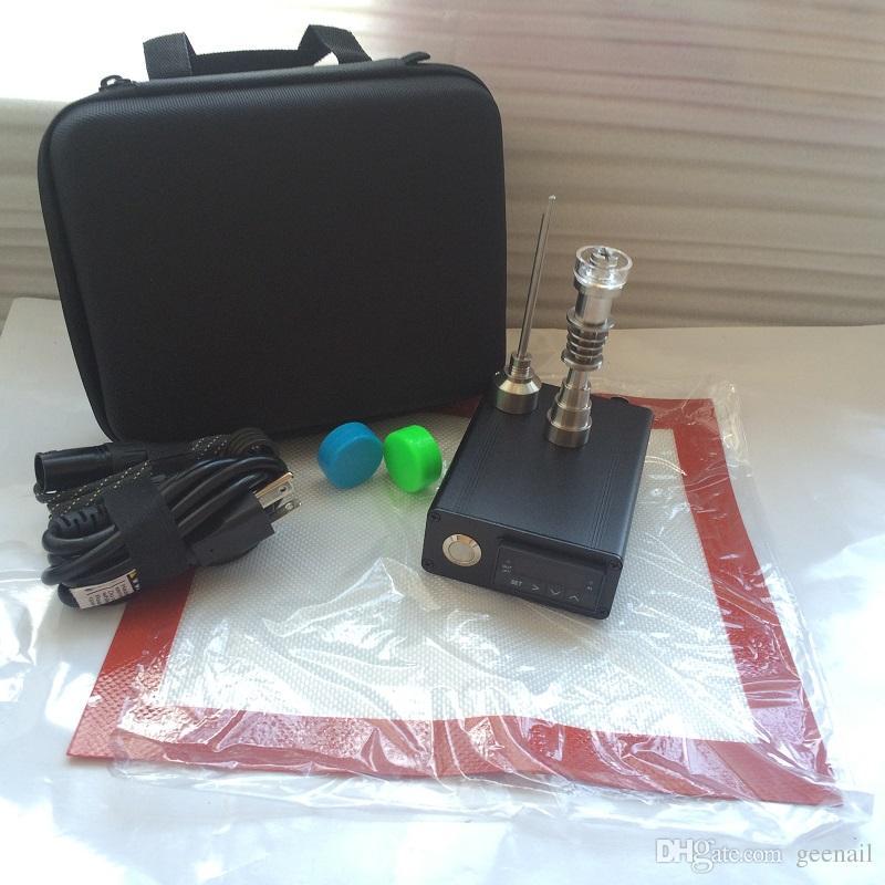 Portable E dab NAIL strumenti tampone unghie tampone dabber PID TC control box 14 16mm cupola chiodi contenitore in silicone vetro acqua bong