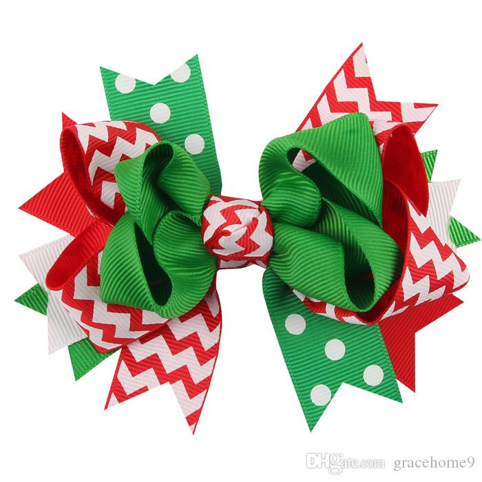 New 4.7inch Girl christmas Holiday gift ribbon hair bows clip Children hairpin Bownot