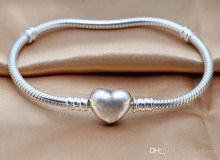 Silver heart bracelets,Genuine 100% Authentic 925 Sterling Silver Snake chain jewelry DIY women jewelry fit for brand beads charms