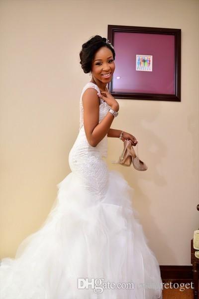 متواضع النيجيري فساتين الزفاف حورية البحر الديكور الأورجانزا انظر حتى 2019 الحبيب مصلى قطار الكشكشة رخيصة زائد حجم أثواب الزفاف رخيصة
