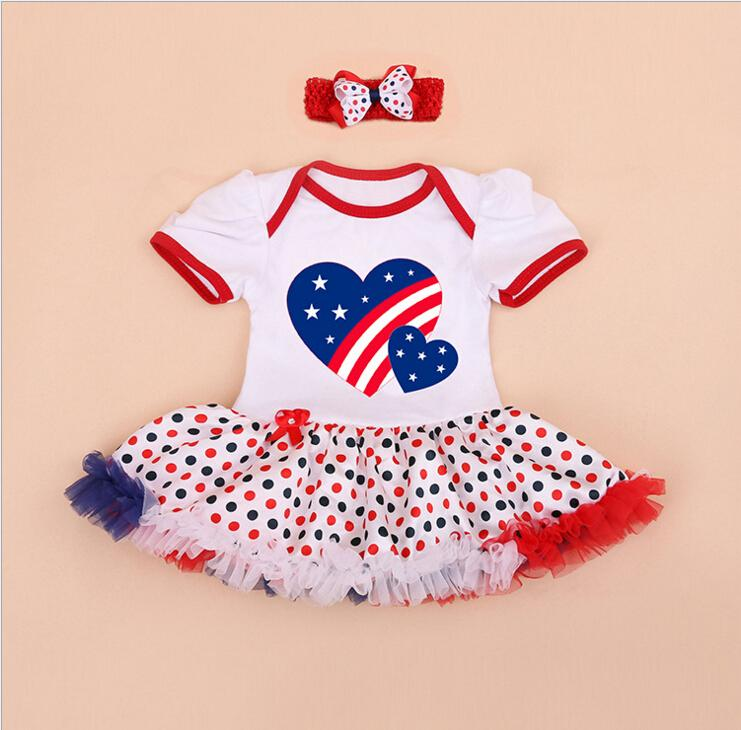 Newest Design Baby 4th July Patriotic USA Flag Heart Bodysuit Tutu & Headband baby girl clothes set