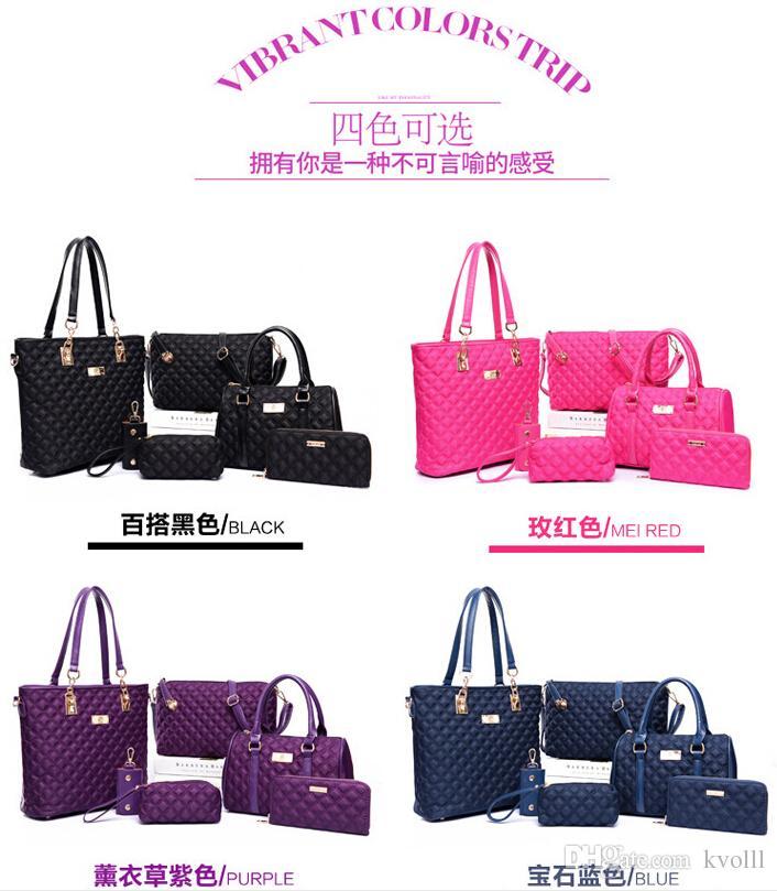 2016 nuovo 6 pz / lotto Blu con donne ragazza borse in rilievo borse a tracolla borse messenger portafogli portachiavi sacchetti di trucco sacchetto di svago sacchetto selvaggio