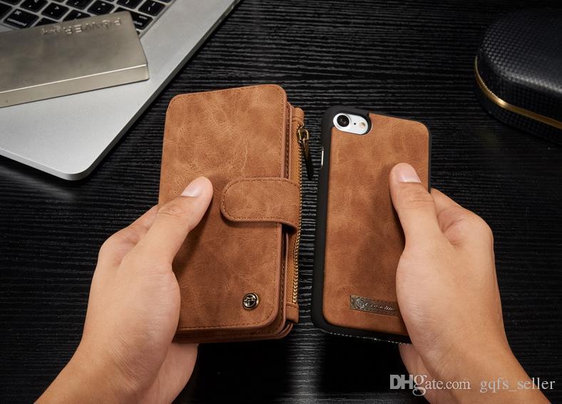 iPhone 7 iphone 6s plus note7 cassa CASEME lusso cassa del portafoglio in vera pelle cavalletto card slot 2-in-1 coperchio della chiusura lampo iphone 7 6s plus