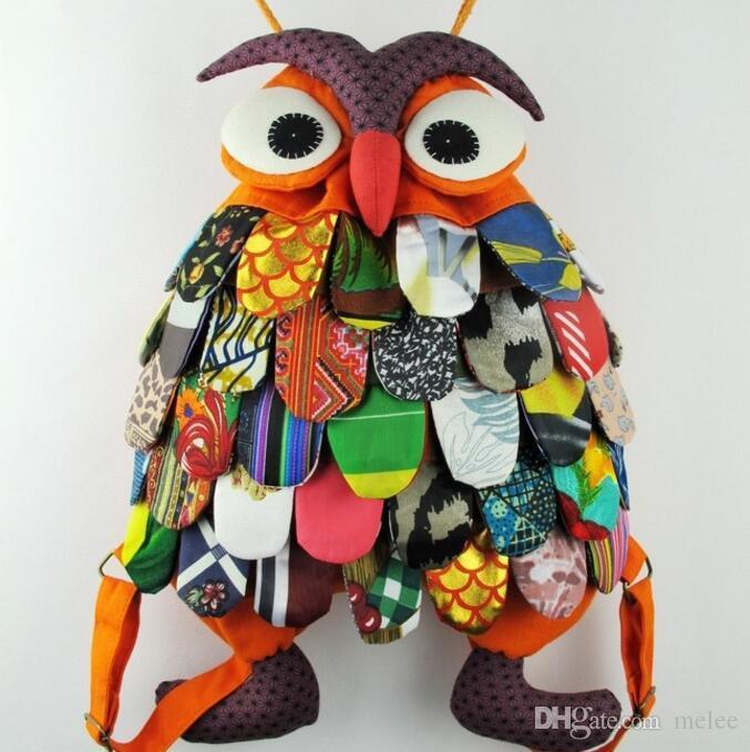 Colorido Estilo Étnico Algodão OWl estilo Colorido Sacos Sacos de Bebê Do Vintage Moderno Sacos de Escola Características Chinesas 11 projetos W * H: 25 * 30 CM