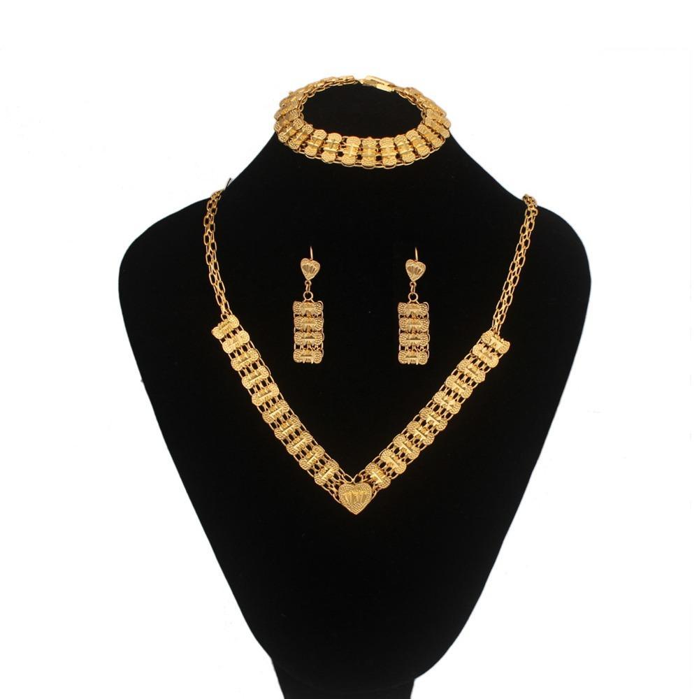 Geleneksel Etiyopya Kolye Küpe Bilezik jewelry18K Altın Renk Takı Afrika gelin düğün takı setleri