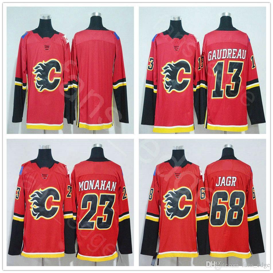 best sneakers 6bdce fdb22 2018 New Season Calgary Flames #68 Jaromir Jagr Jersey Home Red Stitched 13  Johnny Gaudreau 23 Sean Monahan Blank Hockey Jerseys Mix Order
