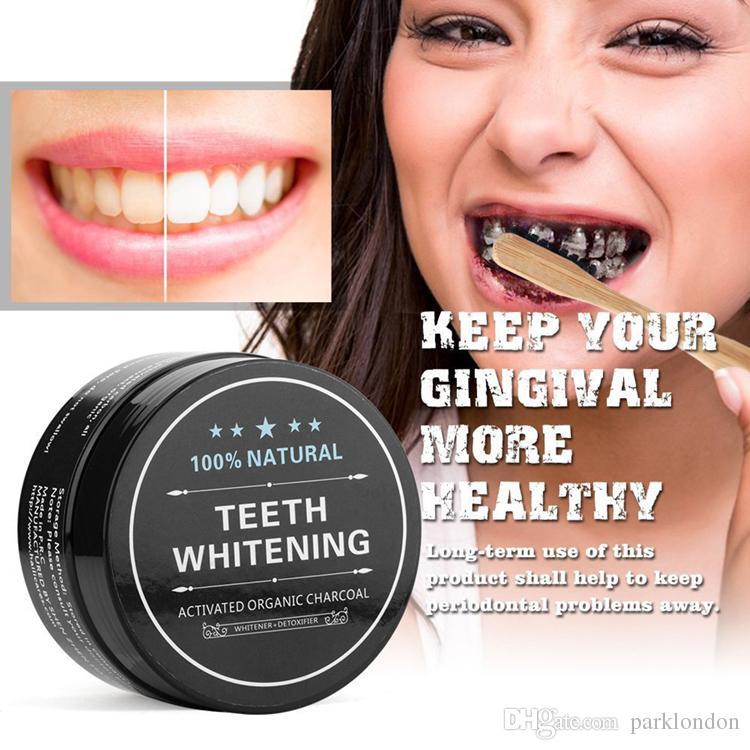 Poudre de dent et de gomme de nettoyage pour dents de charbon actif entièrement naturelles et organiques Dents totales blanches 30g