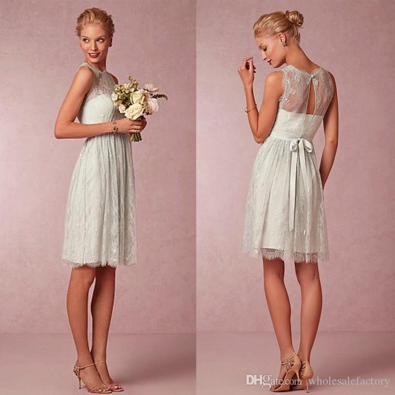 24794d1ae86 Country Style Chic Lace Jewel Neckline Knee Length A Line Bridesmaid Dresses  for Juniors Short Party Homecoming Graduation Gowns Bridesmaids Dresses  Short ...