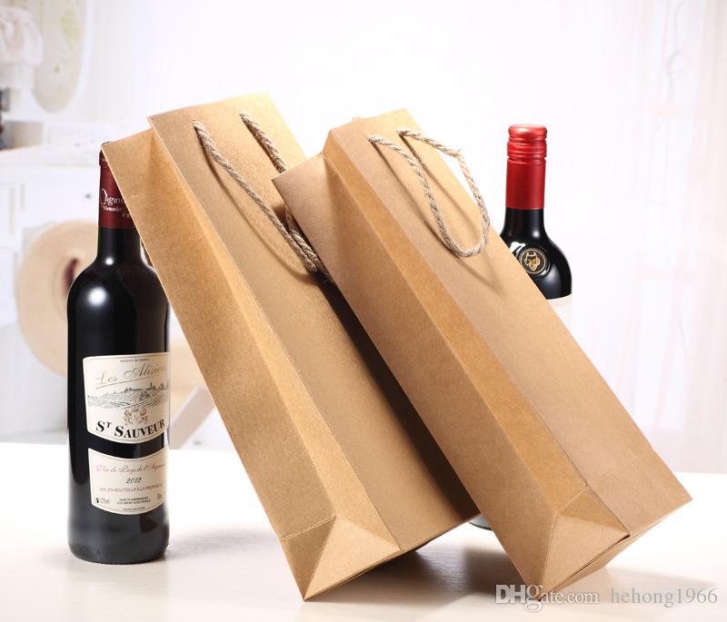 Reutilizable Papel Kraft vino tinto solo bolso de regalo y embalaje doble Champagne caja de regalo Bolsos fácil llevar 0 83sx C R