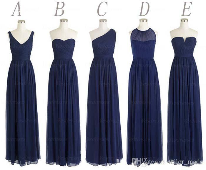 Estilos de envío gratis gasa longitud del piso largo azul marino oscuro vestido de noche de las mujeres vestido de evento de boda al por mayor 2019