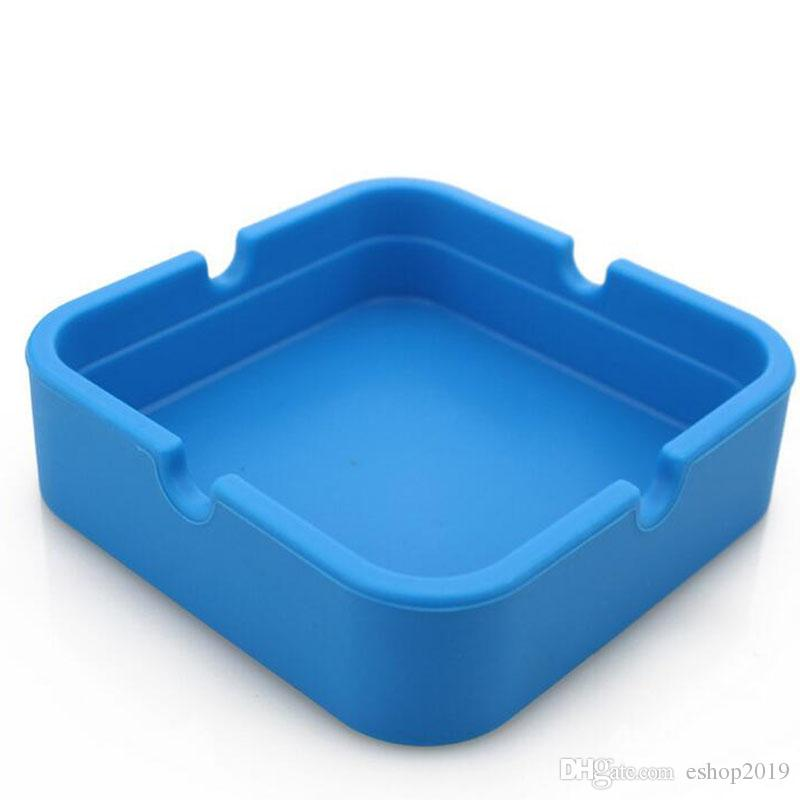 Wholesale Colorful Friendly square style Silicone Ashtray for Home novelty Crafts Pocket Ashtrays for Cigarettes cool Gadgets ashTray