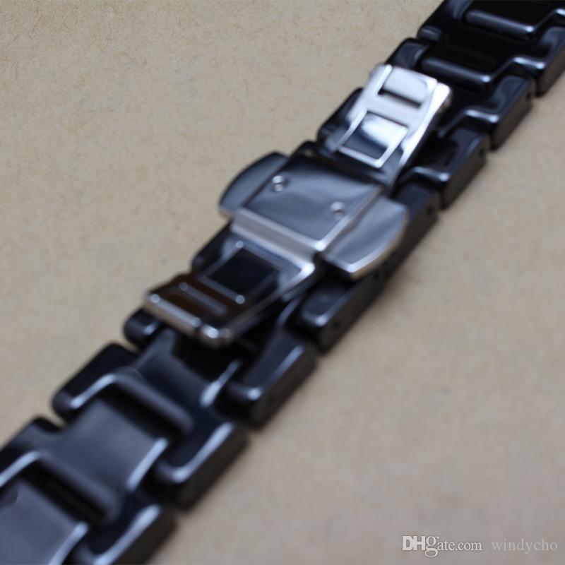Nouveau bracelet de montre Ceramic Black bracelets de montre 14mm 16mm 18mm Bracelet Straight End Solid Links accessoires de montre pour montre de diamant général