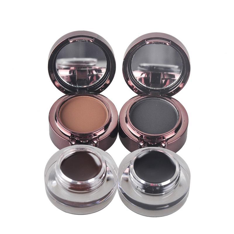Conjunto de piezas de maquillaje de flores para la música Crema delineador de ojos, delineador en los ojos, crema en polvo para cejas, negro + marrón, es / juego cosmético 0605045