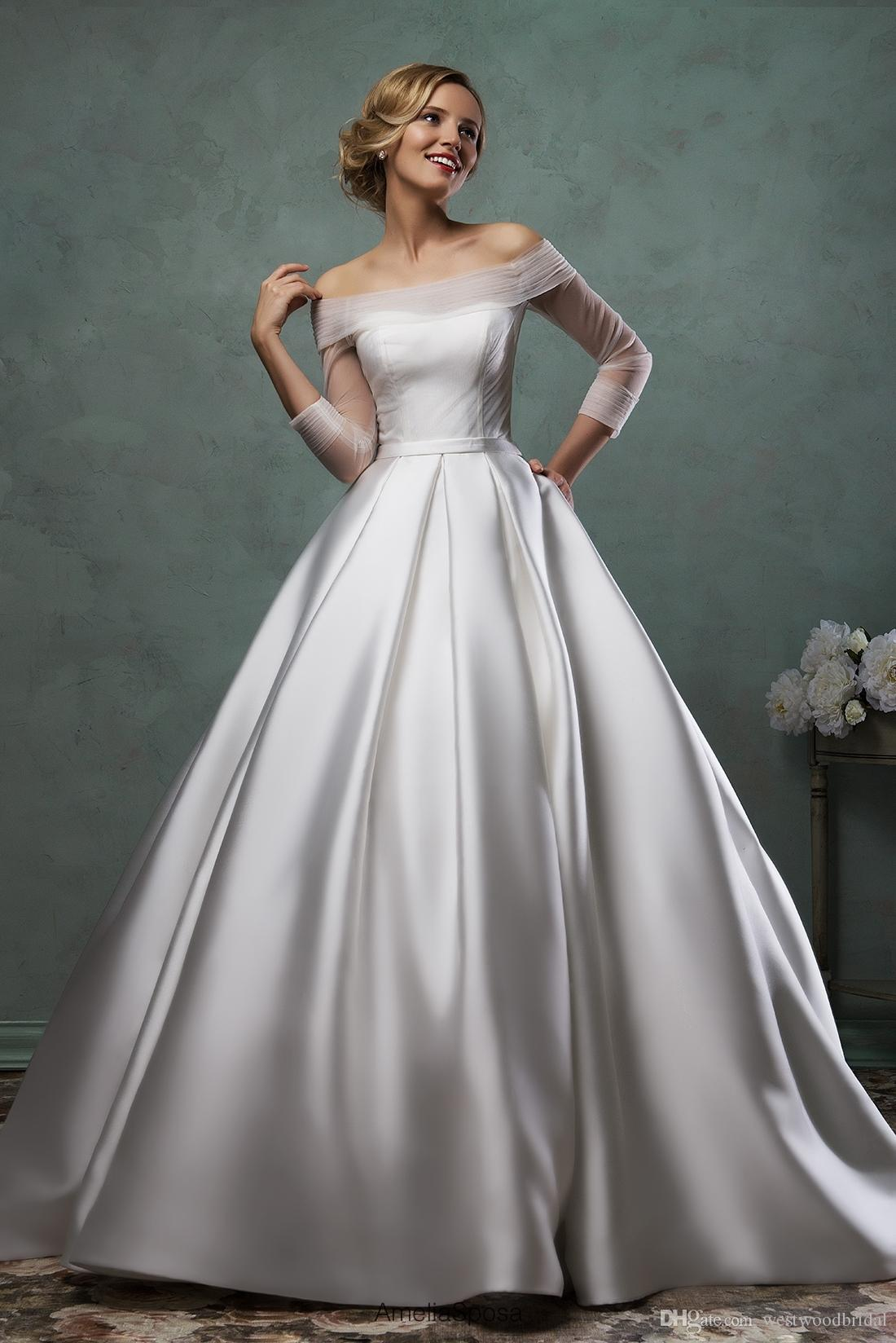 2019 Wedding Dress Amelia Sposa Paoliba Lace Ball Gown Wedding Dresses Bridal Gowns Vestido De Novia Satin Buttons off Shoulder Long Sleeve
