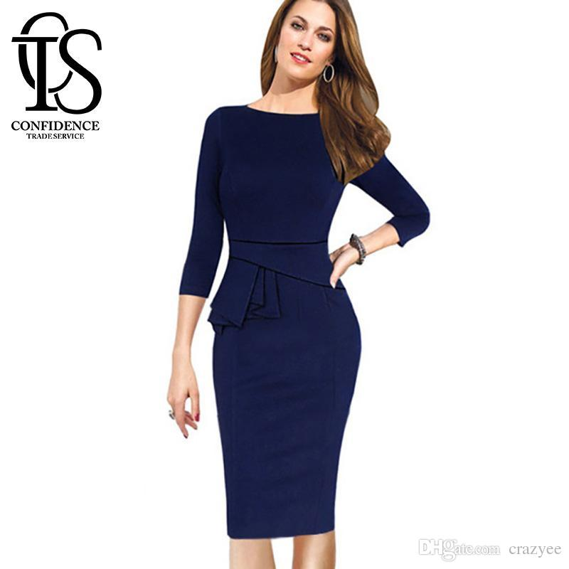 2016 Formal Dresses Spring Womens Dress Three Quarter Sleeve Ladies