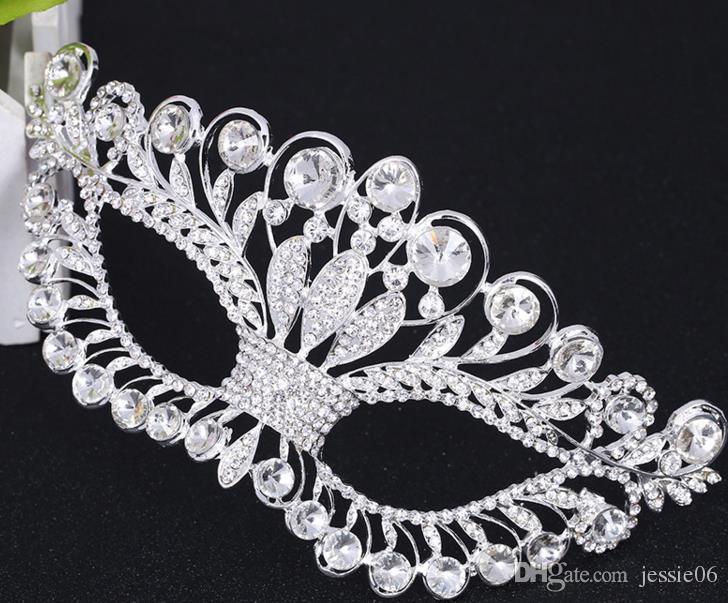 Strass Venetian Masquerade Masken Mode Frauen sexy Metall eyemask Hochzeit Junggesellinnenabschied Parteischablone Halloween Weihnachten rosa Silber festlich