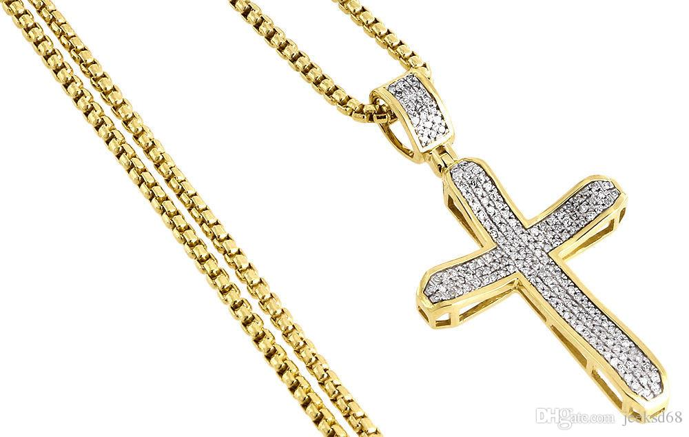 Diamond cross pendant yellow gold mens pave charm 040 ct box diamond cross pendant yellow gold mens pave charm 040 ct box chain necklace from china chains seller jeeksd68 dhgate aloadofball Image collections