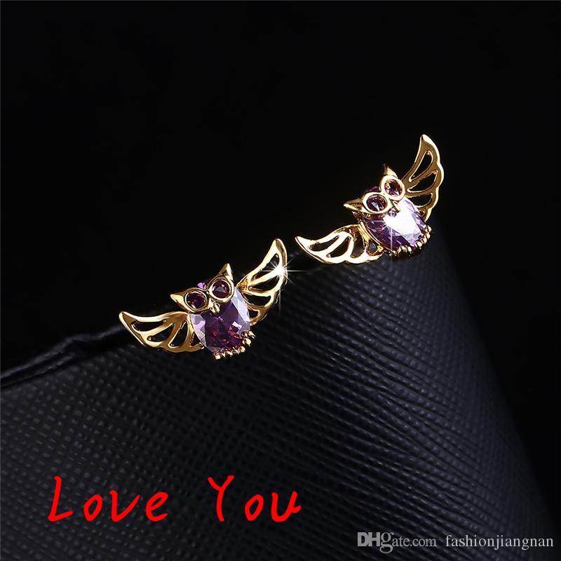 Hot Sale European Owl Stud Earrings Gold Plated Wings Earrings New Style Vintage Women Fashion Jewelry Animal Earrings boucle d'oreille