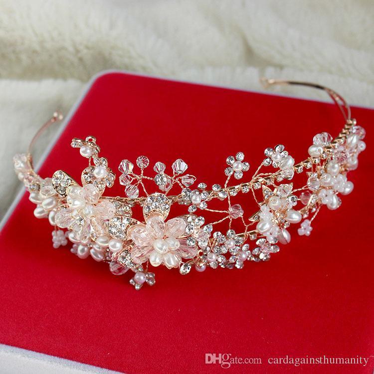 2016 Gold Vintage Bridal Jewelry Headpiece Imitation Pearl Hair