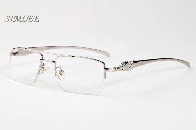 2017 marke sonnenbrille cat eye buffalo horn gläser gold silber rahmen brillen klare linsen vintage herren designer sonnenbrille mit fall