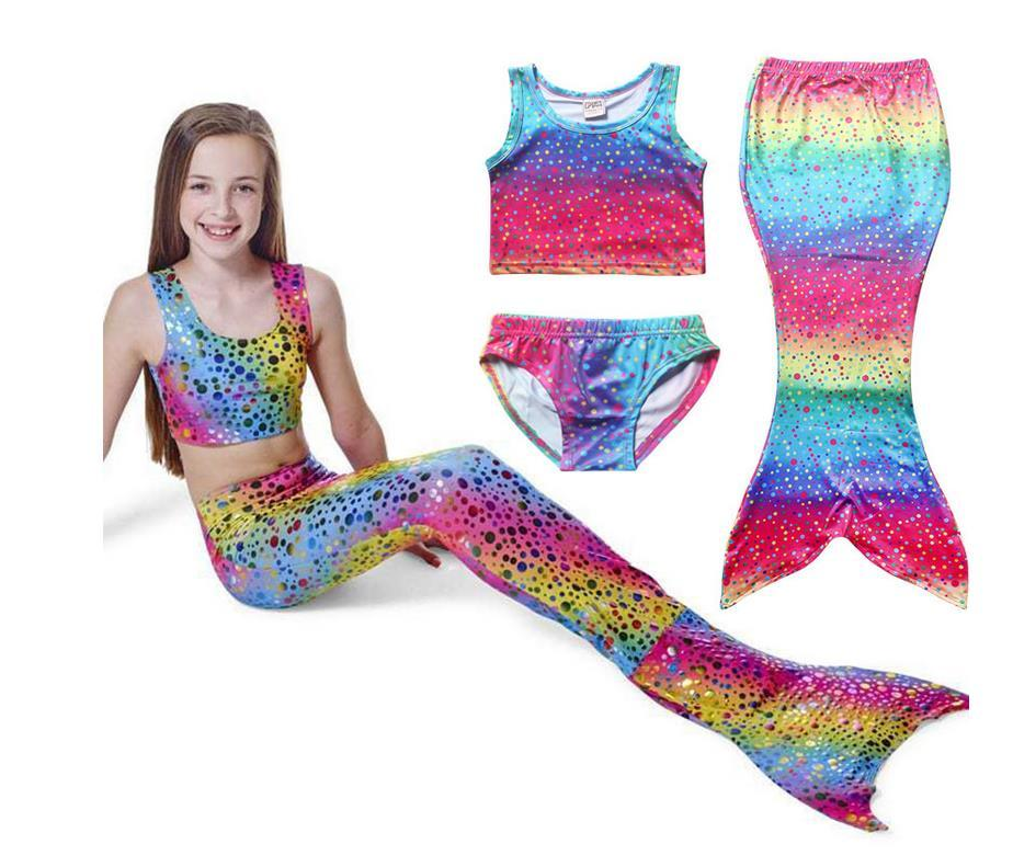 Children Mermaid Tail Fancy Swimwear Dress Cosplay Costume Sea Maid