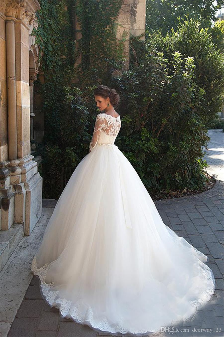 Bateau 3/4 Long Sleeves Pearls Tulle Princess Cheap Bridal Ball Gowns Plus Size Country Vintage Lace Millanova 2020 Wedding Dresses