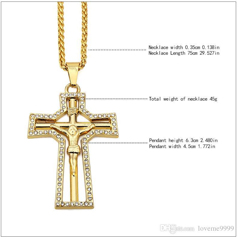 Rapper High quality 24K Gold Plated Jesus Cross Pendants Necklace Hip hop style Golden Crucifixio Pendant Cuban Chain Necklace Rock Jewelry