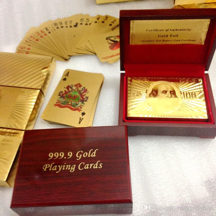 24K Gold Foil Plated Poker Playing Cards Traditional Set With red Box Free collectibles