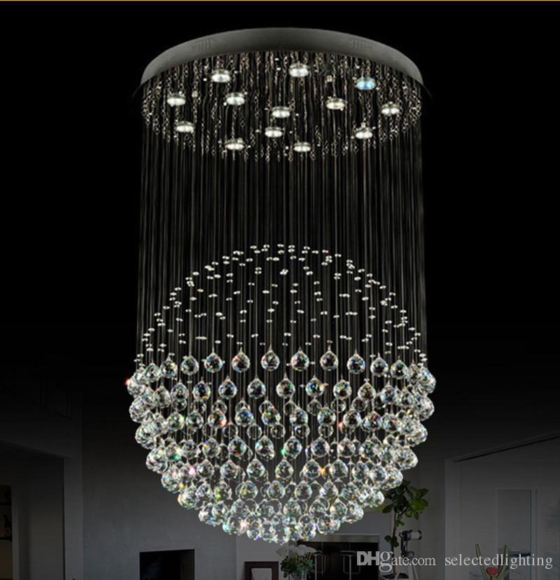 Chandeliers Lights & Lighting Lovely Large Spiral Crystal Chandelier Led Suspension Luminaire Lights For Living Room Chandelier Lighting Stairway Gold Led Chandelier Convenient To Cook