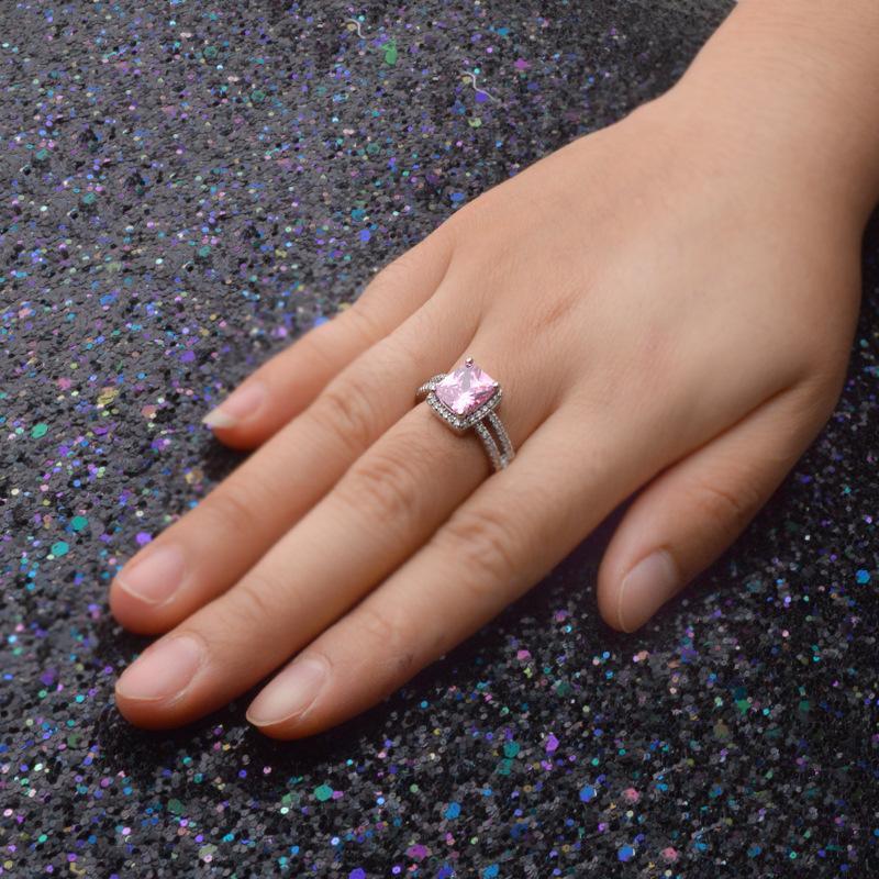 Incantando gli anelli dell'argento sterlina 925 con gli anelli di cerimonia nuziale del diamante di lusso 3 monili placcati platino di modo di trasporto libero