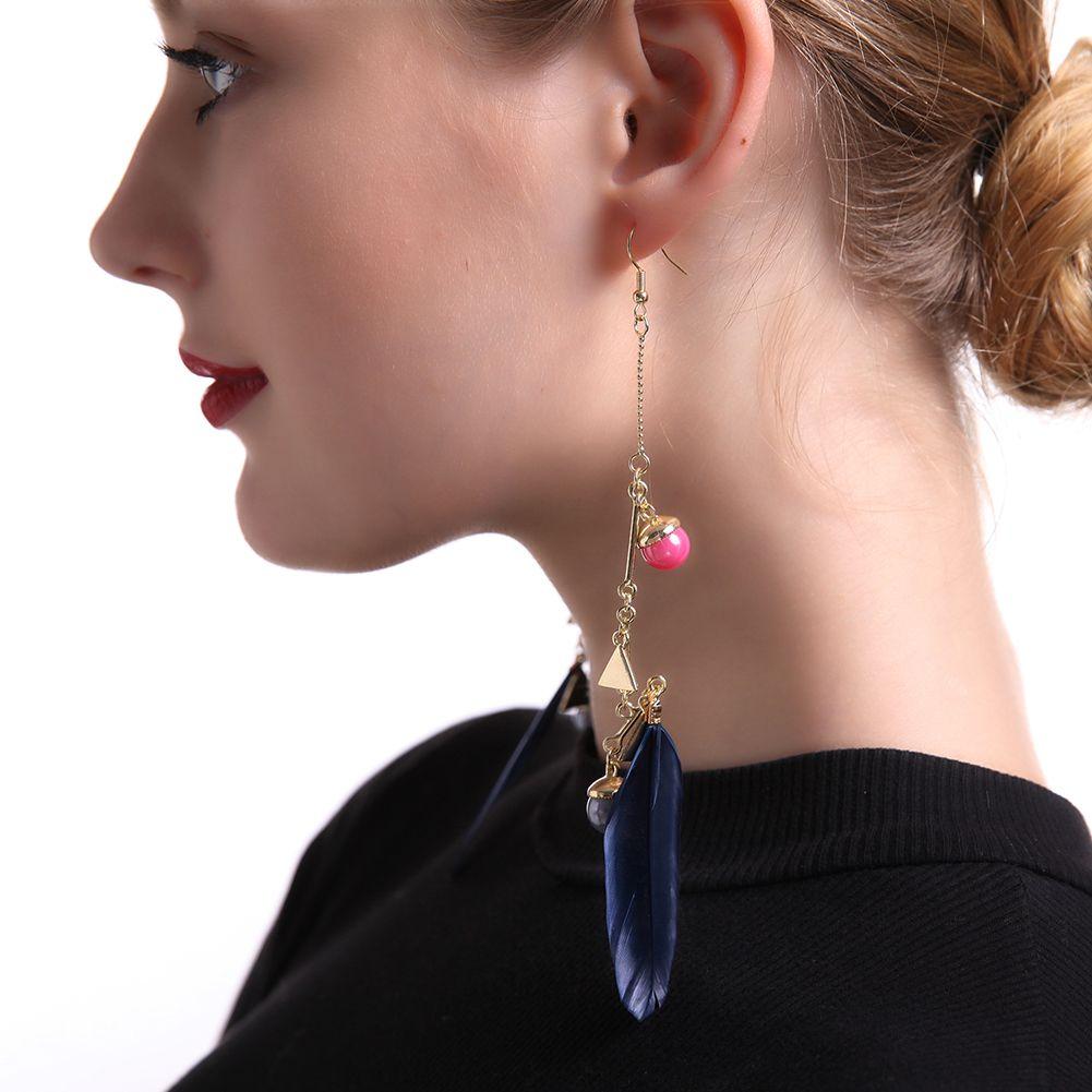 2019 Balance Feather Earrings Korean Style Long Earrings