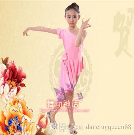 Latin Balo Salonu Dans Elbiseler Mor / Kırmızı / Pembe Elbise Kızlar Için Dans XS-XXXS Dans Elbise Tango Vestido De Franja Ücretsiz Gemi