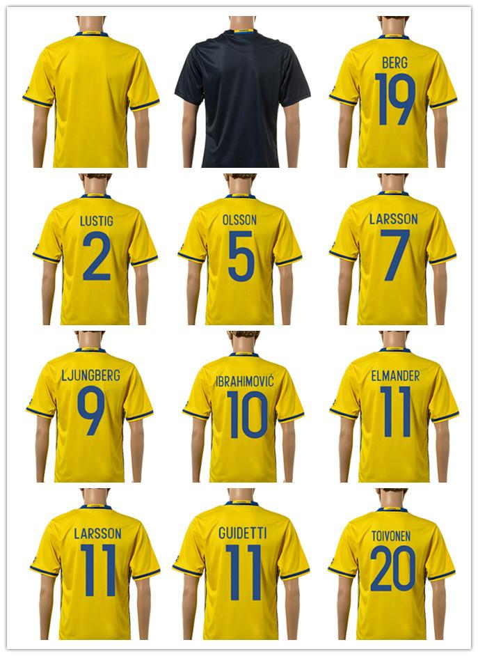 f81435ccb ... Best Sweden Jersey Euro 2016 Home Yellow Ibrahimovic Away Black  Kallstrom Jerseys Top Quality Men Sweden ...