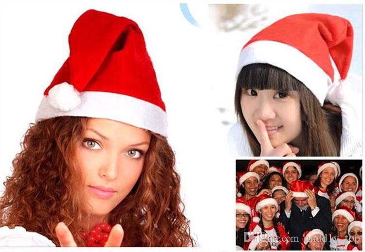 Cappelli di Babbo Natale di Natale Cappelli di cappelli rossi e bianchi Babbo Natale Costume Decorazione di Natale bambini adulti Cappello di Natale