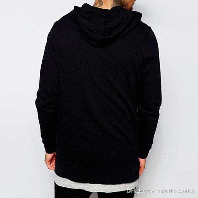 Классические черные длинные толстовки Толстовки Пальто Мужчины Толстые Hoodie Повседневная карманная молния Верхняя одежда Толстовка Куртка