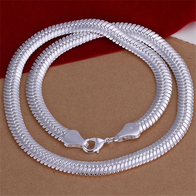 Heavy 71g Collier de serpent plat pour serpent plat en argent sterling collier STSN209, Mode de gros 925 Chaînes d'argent Collier Collier Vente directe d'usine