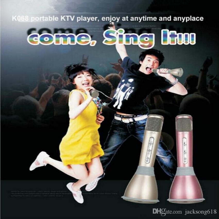 Sıcak Satış K068 Kablosuz Mikrofon Mikrofon Mikrofon Ile Mikrofon Kondenser Mini Karaoke Çalar KTV Akıllı Telefonlar için KTV Şarkı Kayıt Toptan