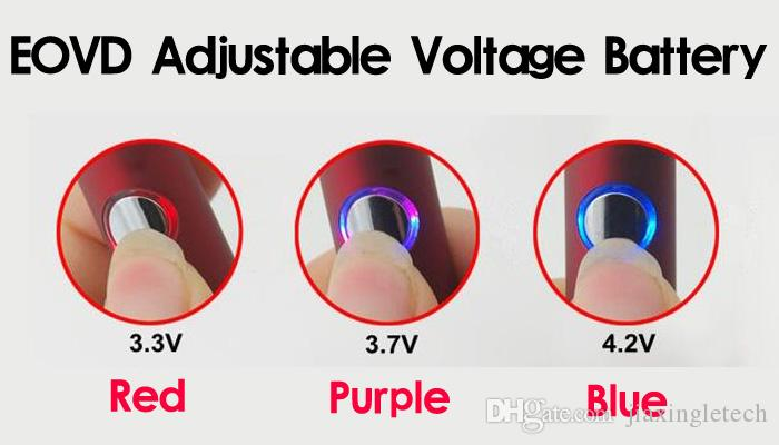 EVOD Vape Penna Batteria 650mAh 900mAh 1100mAh Voltaggio Variabile 510 Batterie Vaporizzatore ego torsione ecig batterie MT3 CE4 CE5 atomizzatore