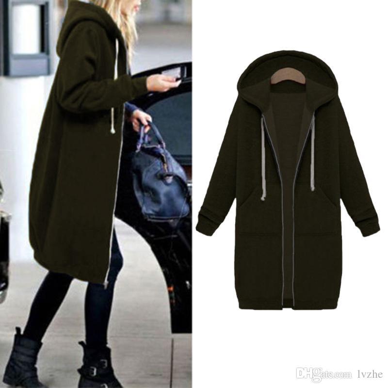 2017 New Womens Warm Zipper Hoodie Sweater Hooded Long Jacket Sweatshirt Coat 8 Size