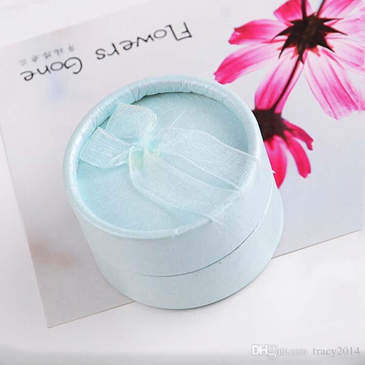 Pendientes anillo ataúd baratija de pulsera joyería Cajas amante regalo del favor de la boda bolsa de embalaje sostenedor de la caja redonda Boxex