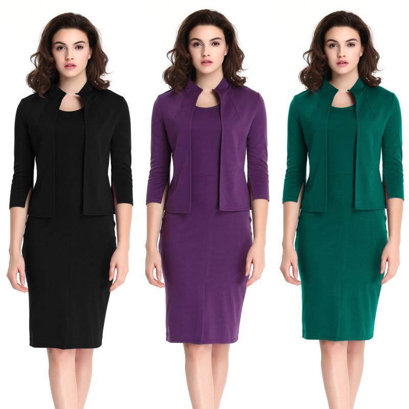 7d1f6daae Compre Carreira Trabalho Formal Vestidos Feminino Senhora Escritório Vestido  Cor Pura Slim Fit Plus Size Duas Peças Set Na Altura Do Joelho Lápis Vestido  De ...